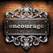 Encourage vector metal word on wood — Stock Vector