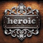 Heroic vector metal word on wood — Stock Vector