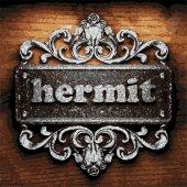 Hermit vector metal word on wood — Stock Vector