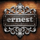 Ernest vector metal word on wood — 图库矢量图片