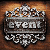 Event vector metal word on wood — Wektor stockowy