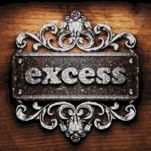 Excess vector metal word on wood — Stock Vector