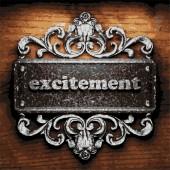 Excitement vector metal word on wood — Stock Vector