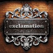 Exclamation vector metal word on wood — Wektor stockowy