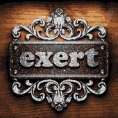 Exert vector metal word on wood — Stock Vector