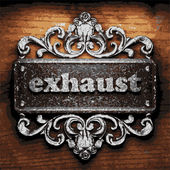 Exhaust vector metal word on wood — Stock Vector