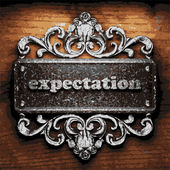 Expectation vector metal word on wood — Stock Vector
