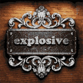 Explosive vector metal word on wood — Stock Vector