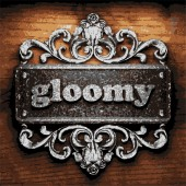 Gloomy vector metal word on wood — Stock Vector