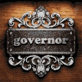 Governor vector metal word on wood — Stock Vector