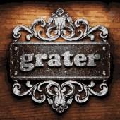Grater vector metal word on wood — Stock Vector