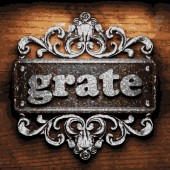 Grate vector metal word on wood — Vector de stock