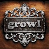 Growl vector metal word on wood — Stock Vector