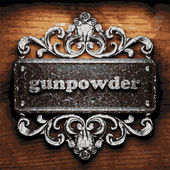 Gunpowder vector metal word on wood — Stock Vector