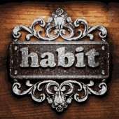 Habit vector metal word on wood — Stok Vektör