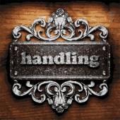 Handling vector metal word on wood — Stock Vector