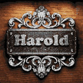 Harold vector metal word on wood — Stockvektor