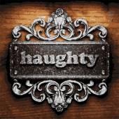 Haughty vector metal word on wood — Stock Vector