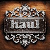 Haul vector metal word on wood — Stock Vector