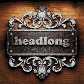 Headlong vector metal word on wood — Stock Vector