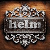 Helm vector metal word on wood — Stock Vector