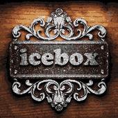 Icebox vector metal word on wood — Stock Vector