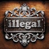 Illegal vector metal word on wood — Stok Vektör