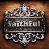 Faithful vector metal word on wood — Stock Vector