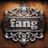 Fang vector metal word on wood — Stock Vector