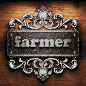 Farmer vector metal word on wood — Stock Vector
