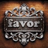 Favor vector metal word on wood — Stock Vector