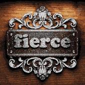 Fierce vector metal word on wood — Stock Vector