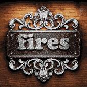 Fires vector metal word on wood — Stock Vector
