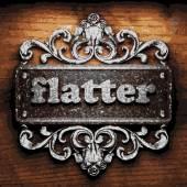 Flatter vector metal word on wood — Stock Vector