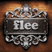 Flee vector metal word on wood — Stock Vector