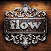 Flow vector metal word on wood — 图库矢量图片