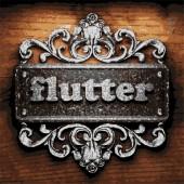 Flutter vector metal word on wood — Stock Vector
