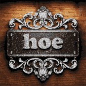 Hoe vector metal word on wood — Vettoriale Stock