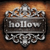 Hollow vector metal word on wood — Wektor stockowy