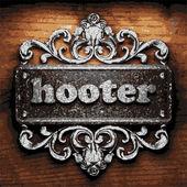 Hooter vector metal word on wood — Stock Vector