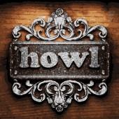 Howl vector metal word on wood — Stock Vector