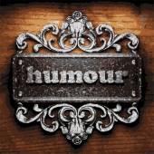 Humour vector metal word on wood — Stock Vector
