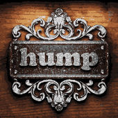 Hump vector metal word on wood — Stock Vector