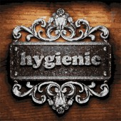 Hygienic vector metal word on wood — Stock Vector