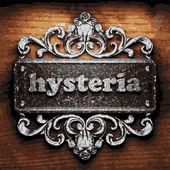 Hysteria vector metal word on wood — Stock Vector