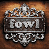 Fowl vector metal word on wood — Stock Vector