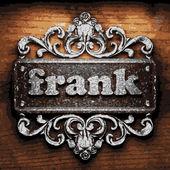 Frank vector metal word on wood — Stock Vector