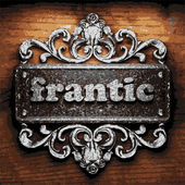 Frantic vector metal word on wood — Stock Vector