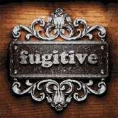 Fugitive vector metal word on wood — Stock Vector
