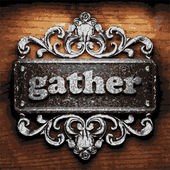 Gather vector metal word on wood — Stock vektor